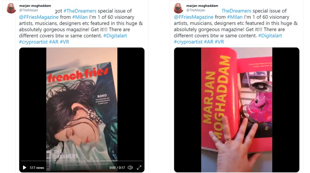 """Marjan Moghaddam Featured Visionary Artist in French Fries magazine """"Dreamers"""" December 2020"""