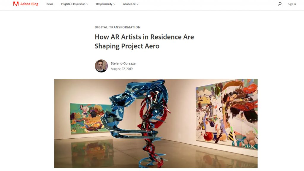 Adobe Artist In Residency in Augmented Reality Project Aero Marjan Moghaddam Featured Artist