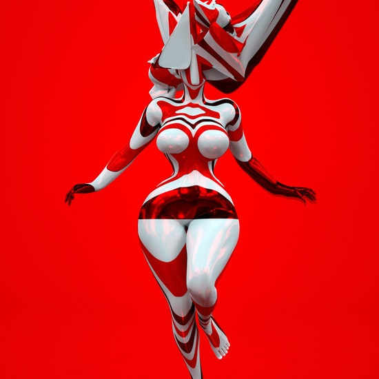 Glitch Goddess in Red Number Two by Marjan Moghaddam